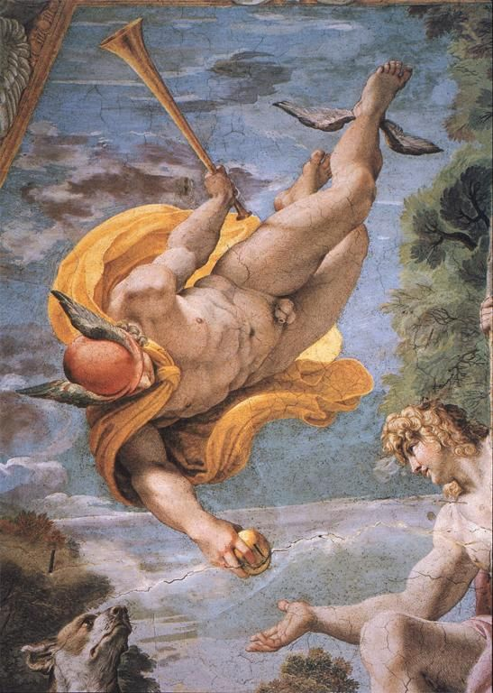 Mercury and Paris by Annibale Carracci - Ceiling of the Farnese Gallery. 16th/17th Century Baroque Italian Art.