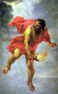 Prometheus stealing fire from the Gods.