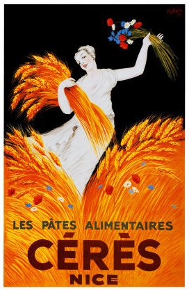 The Goddess Ceres in a poster from Nice, France.