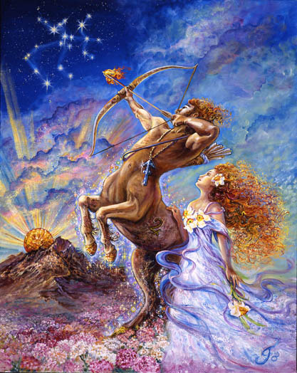 The fiery, optimistic and far reaching energy of Sagittarius is beautifully rendered in this gorgeous illustration.