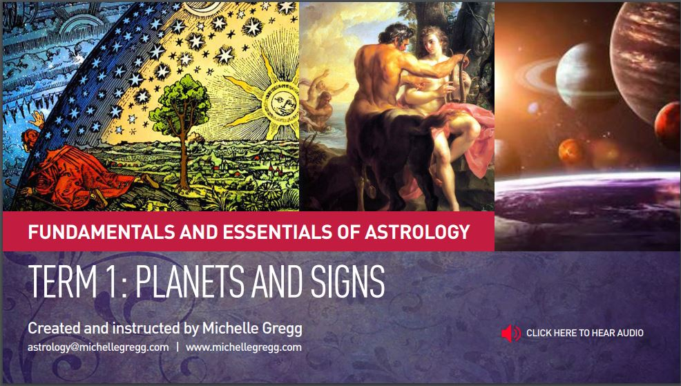Beginner's Astrology Class with Michelle Gregg. Fundamentals and Essentials of Astrology Term One 1